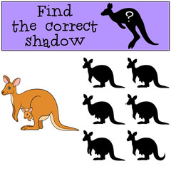 Educational game: Find the correct shadow. Mother kangaroo and baby.