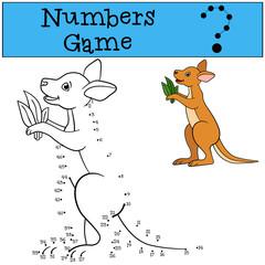 Educational game: Numbers game. Little cute baby kangaroo.