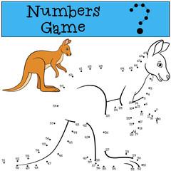 Educational game: Numbers game. Cute kangaroo and smiles.