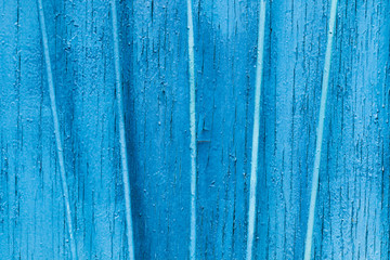 Texture exfoliating cracked blue paint. Vintage wooden background with vertical iron bars, with blue paint.