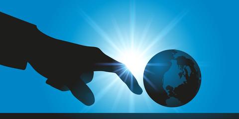 environnement - globe - terre - globe terrestre - planète - main - climat - écologie - monde - jeter