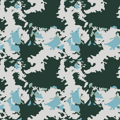 UFO military camouflage seamless pattern in green and different shades of beige and blue colors