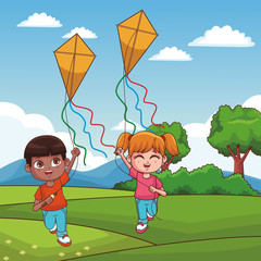 Boy and girl flying a kite at park vector illustration graphic design