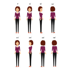 360 Degree Business Woman Vector Character All Body Parts Separated Easy to Do Poses