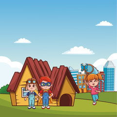Cute boys and girl at park with superhero and pilot costume vector illustration graphic design
