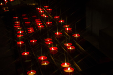Candles shining on a portuguese church