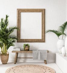 Foto op Canvas Boho Stijl Old wooden frame mock-up in interior background,Scandi-boho style, 3d render
