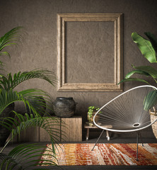 Photo sur Plexiglas Style Boho Old wooden frame mock-up in ethnic interior, 3d render