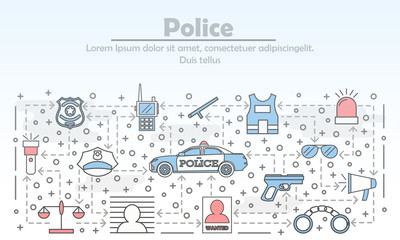 Vector thin line art police poster banner template