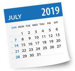 July 2019 Calendar Leaf - Vector Illustration