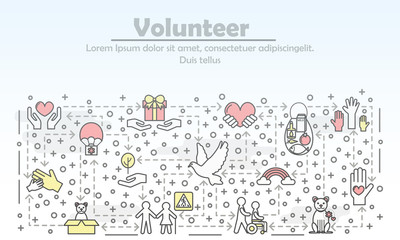 Vector thin line volunteer poster banner template