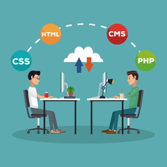 Programmers with software and programming symbols vector illustration graphic design