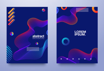 Set of cover design with abstract multicolored flow shapes