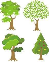 Set of green Trees with Different Leaves. Vector Illustration.