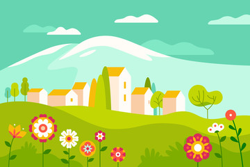 Poster Green coral Vector illustration in simple minimal geometric flat style - village landscape with buildings, hills, flowers and trees