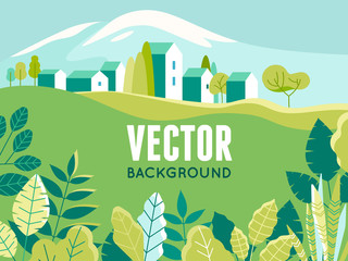 Vector illustration in simple minimal geometric flat style - village landscape with buildings, hills, flowers and trees