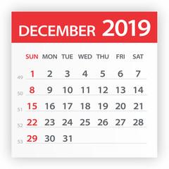 December 2019 Calendar Leaf - Vector Illustration