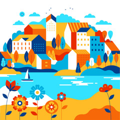 Vector illustration in simple minimal geometric flat style - city landscape with buildings, lake, flowers and trees