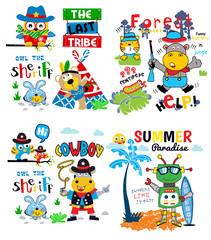animals cartoon vector set