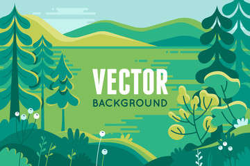 Vector illustration in trendy flat style - background with copy space for text - plants, trees, leaves and forest landscape