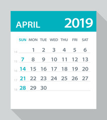 April 2019 Calendar Leaf - Vector Illustration