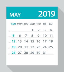 May 2019 Calendar Leaf - Vector Illustration