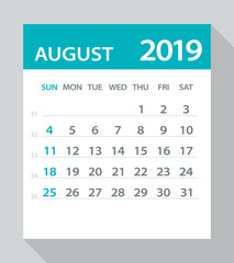 August 2019 Calendar Leaf - Vector Illustration