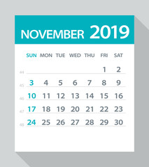 November 2019 Calendar Leaf - Vector Illustration