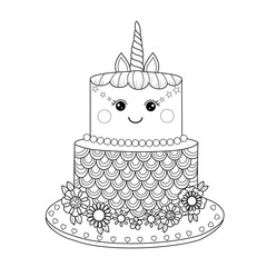 Unicorn cake coloring book for adult. Vector illustration. Handdrawn.Doodle style.