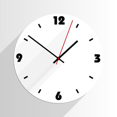 flat simple analogue wall clock with drop shadows vector illustration