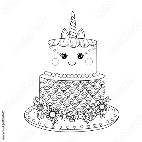 Unicorn Cake Coloring Book For Adult Vector Illustration Handdrawn