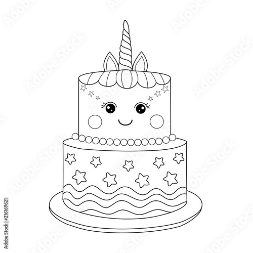 quot Unicorn cake coloring book for adult Vector illustration