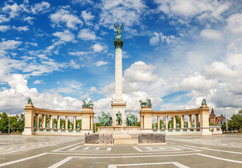 Heroes Square without people in Budapest, Hungary