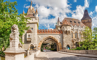 Poster Budapest Vajdahunyad Castle entrance gates, vacation and tourism destinations in Budapest and Hungary