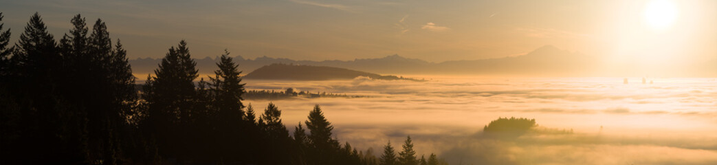 Morning fog panorama of Vancouver from Cypress mountain.