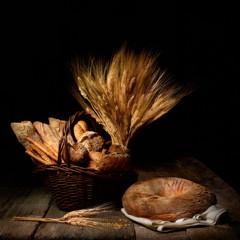 Natura morta con pane vario e spighe di grano