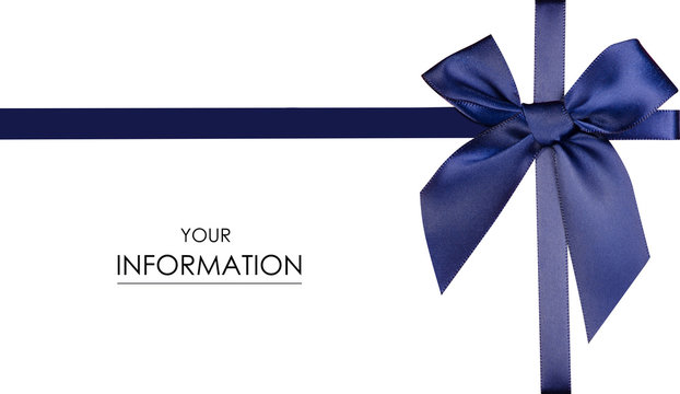 Blue ribbon bow gift pattern on white background isolated
