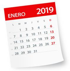 January 2019 Calendar Leaf - Vector Illustration. Spanish version