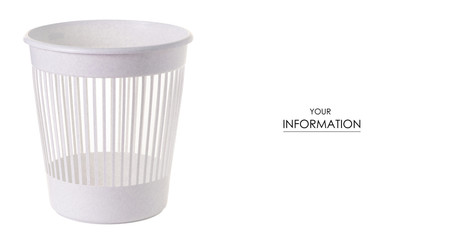 White plastic trash can bin pattern on white background isolation