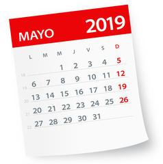 May 2019 Calendar Leaf - Vector Illustration