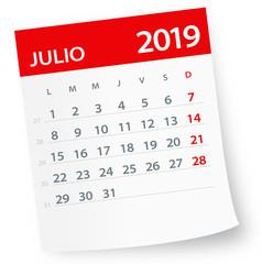 July 2019 Calendar Leaf - Vector Illustration. Spanish version