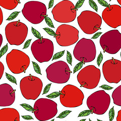 Red Apple Seamless Endless Pattern. Red Apple Fruit. Home Brew. Autumn or Fall Vegetable Harvest Collection. Realistic Hand Drawn High Quality Vector Illustration. Doodle Style.