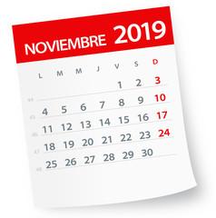 November 2019 Calendar Leaf - Vector Illustration. Spanish version
