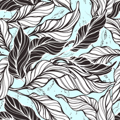 Tropical seamless pattern. Cocoa nature leaves