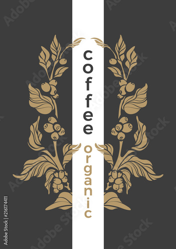 Vector Template Golden Symbol Of Coffee Stock Image And Royalty