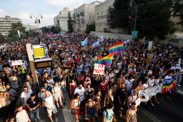 A general view shows participants marching during Jerusalem's 17th annual Gay Pride Parade