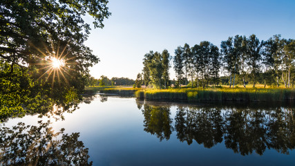 Idyllic summer landscape. Pond and sunset. South Bohemia, Europe. Blue water surface in natural scenery. Beautiful mirroring of birches and foliage of trees. Sunbeams. Green reeds on lake shore.