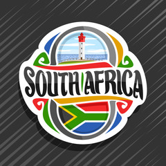 Vector logo for South Africa country, fridge magnet with south african state flag, original brush typeface for words south africa and national symbol - lighthouse at Umhlanga Rocks on sea background.