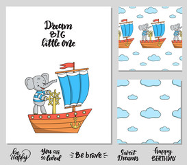Set of poster with elephant on a ship