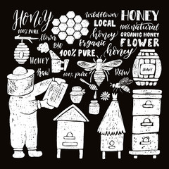Hand drawn honey set.Beehive and honey. Honeycomb. Bottle with honey. Beekeeper with honey.